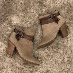 Gianni Bini Suede Buckle Ankle Boots